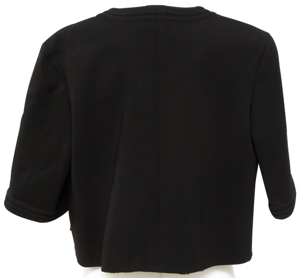 CHANEL Black Jacket Blazer Cropped Collarless Metallic Open Front 38 Fall 2012 - Evesherfashion