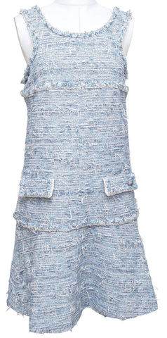 CHANEL Dress Sleeveless Tweed Lesage Fringe Blue White 2015 Sz 38 - Evesherfashion
