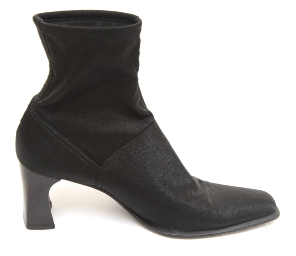 SERGIO ROSSI Black Ankle Boot Iridescent Fabric Square Toe Leather Sz 38.5 - Evesherfashion