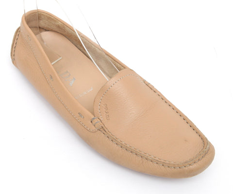 PRADA Driving Loafer Beige Leather Moccasin Flat Sz 38.5 - Evesherfashion