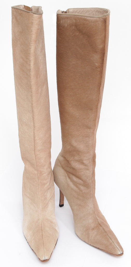 MANOLO BLAHNIK Boot Knee High Pointed Toe Pony Hair Suede Leather Zipper 36.5 - Evesherfashion