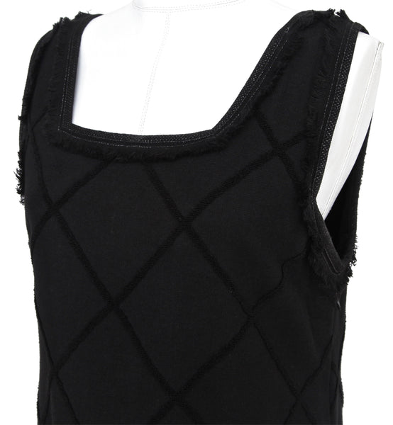 CHANEL Dress Tweed Black Sleeveless Quilted Mademoiselle Cotton Blend Sz 42 - Evesherfashion