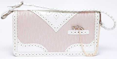 Christian Dior  CHRISTIAN DIOR Bag DIORISSIMO Brogue Agent Canvas Leather Pink White Pochette - Evesherfashion