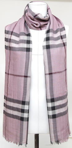BURBERRY Nova Check Shawl Scarf Lavender Black White Wool Silk Long - Evesherfashion