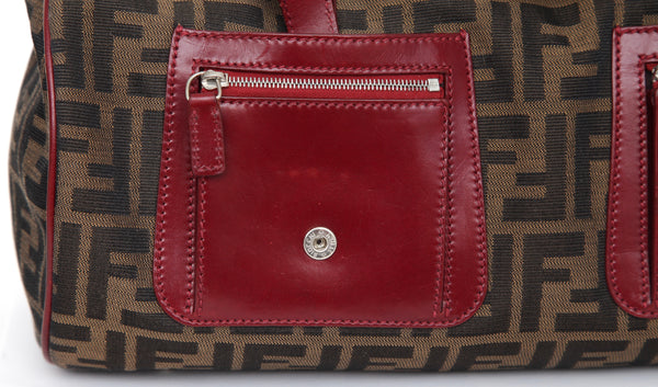 FENDI Zucca Bag Tote Canvas Brown Tobacco Burgundy Leather Pockets Silver HW - Evesherfashion