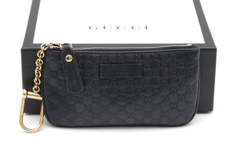 GUCCI Black Leather Coin Pouch Wallet MICRO GG Guccissima Key Chain Zip Top - Evesherfashion