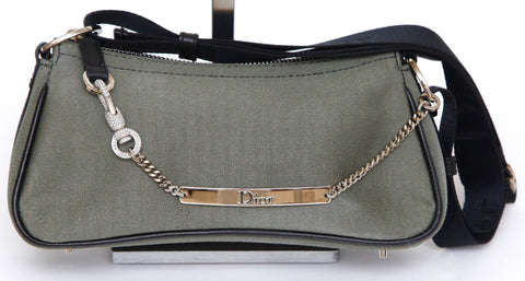 CHRISTIAN DIOR Shoulder Bag Pochette Green Black Nylon Crystals Silver HW - Evesherfashion