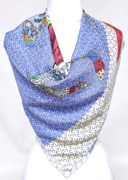 HERMES Silk Scarf Square A CHEVAL sur mon CARRE Blue - Evesherfashion