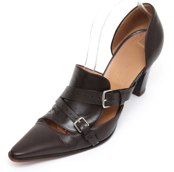 HERMES Brown Pump D'Orsay Leather Stainless Steel Buckle Pointed Silver HW 39.5 - Evesherfashion