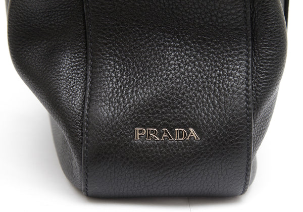 PRADA Black Leather Hobo Shoulder Bag VITELLO DAINO Silver-Tone HW - Evesherfashion