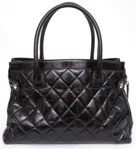 CHANEL Black Glazed Leather PORTOBELLO Tote Bag Quilted Silver-Tone HW - Evesherfashion