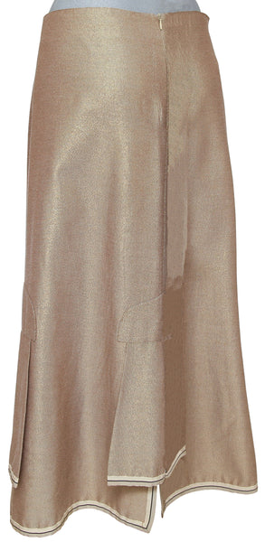 CHANEL IDENTIFICATION Skirt A-line Gold Cotton Blend Long Maxi Sz 42 2000 - Evesherfashion