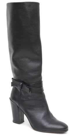 KATE SPADE Black Leather Boot Knee High Rounded Toe Pebbled Bow Sz 7.5M - Evesherfashion
