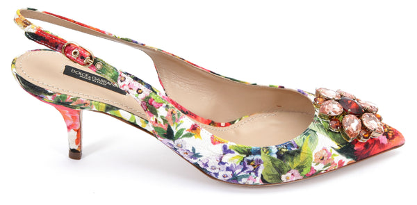 DOLCE & GABBANA Slingback Pump Floral Crystal Kitten Heel Textile Leather 39.5 - Evesherfashion