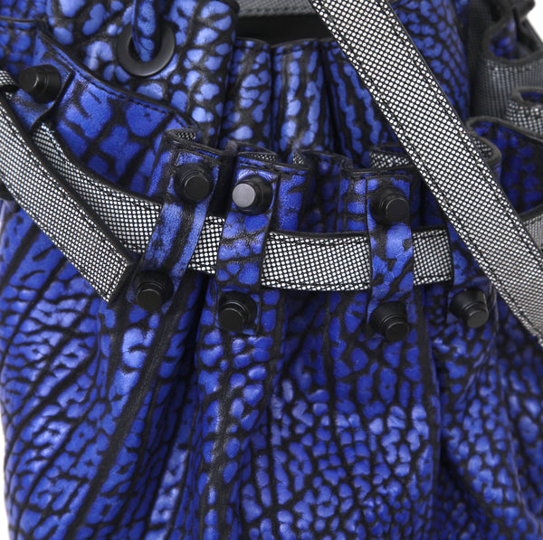 ALEXANDER WANG Bag Tote Leather NILE DIEGO DUMBO Bucket Cobalt Blue Black - Evesherfashion