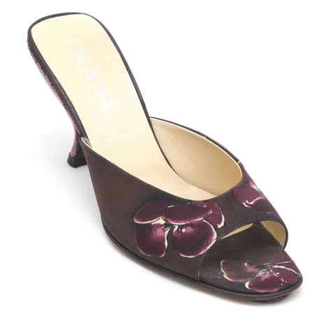 PRADA Sandal Slide Floral Fabric Leather Heel Purple Sz 37.5 - Evesherfashion