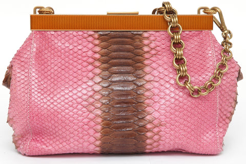 PRADA Exotic Skin Leather Shoulder Bag Pink Brown Top Frame Clutch Gold-Tone HW - Evesherfashion