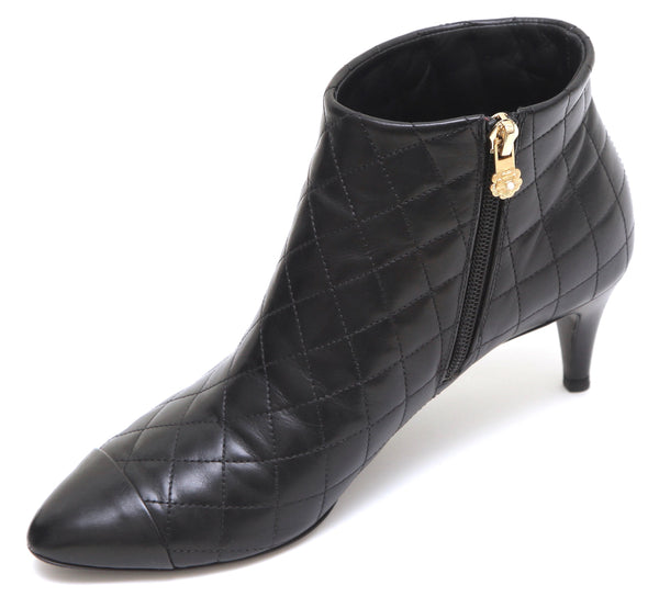 CHANEL Black Leather Ankle Boot Quilted Cap Toe Camellia Faux Pearl Sz 38.5 - Evesherfashion