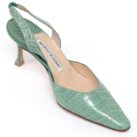 MANOLO BLAHNIK Slingback Pump Mint Green Alligator Leather Pointed Toe Sz 37 - Evesherfashion
