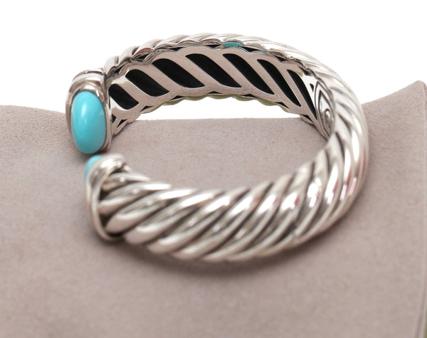 DAVID YURMAN Cuff Sterling Silver 15mm WAVERLY Cable Bracelet Turquoise - Evesherfashion