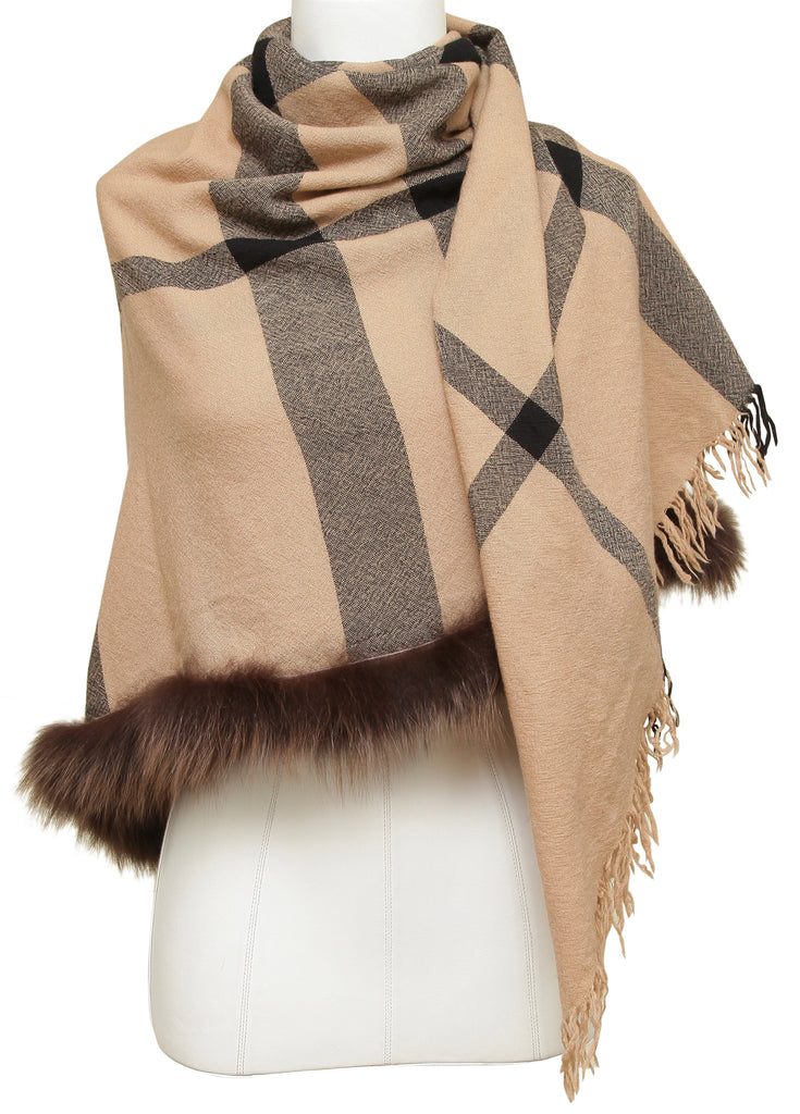 BURBERRY Nova Check Shawl Scarf Brown Tan Fur Trim - Evesherfashion