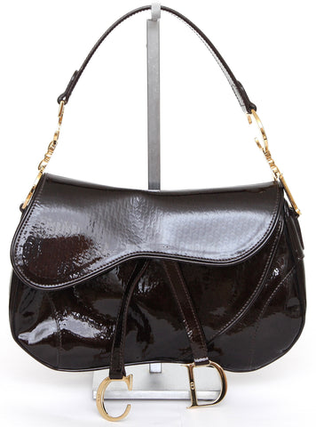 CHRISTIAN DIOR Brown Patent Leather ULTIMATE DOUBLE SADDLE Bag Pochette - Evesherfashion