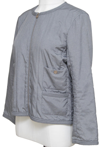 CHANEL Jacket Quilted Collarless Grey Blue Zipper Front Sz 40 Spring 2013 - Evesherfashion