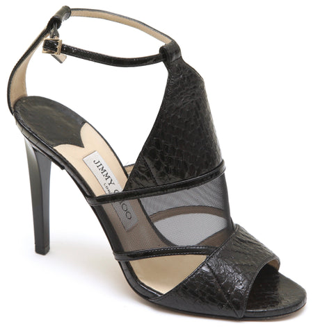 JIMMY CHOO Black Sandal Leather Exotic Mesh 100mm Ankle Strap Heel Sz 38 - Evesherfashion