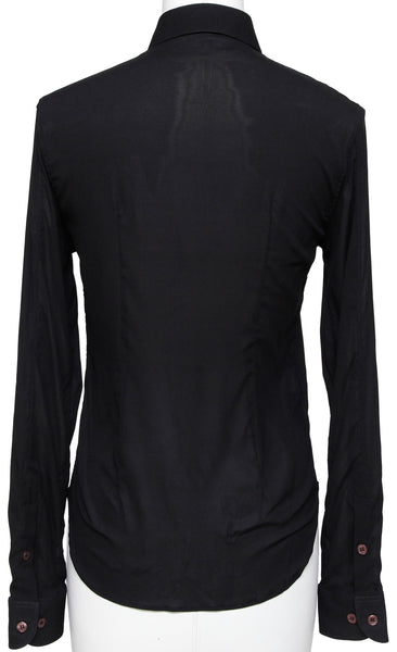 HELMUT LANG Black Blouse Shirt Silk Blend Button Down Sz 38 - Evesherfashion