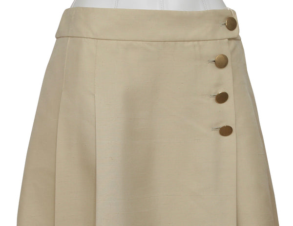 CHLOE Skirt A-Line Pleated Flared Beige Silk Buttons Sz 38 2007 - Evesherfashion