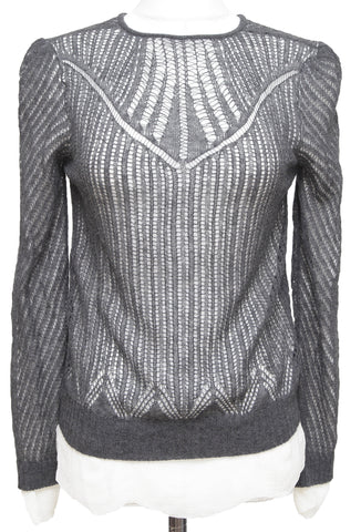 ALEXANDER McQUEEN Grey Sweater Knit Top Wool Silk Long Sleeve Underlay Sz M - Evesherfashion
