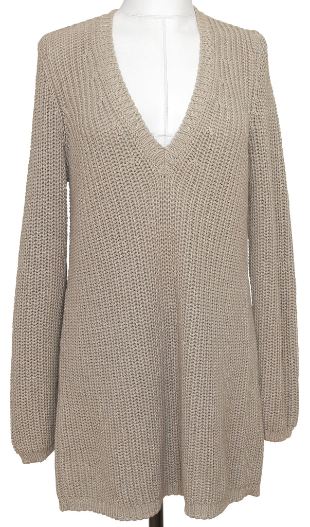 BOTTEGA VENETA Sweater Knit Top Beige Silver Metallic Pullover Long Sleeve Sz 38 - Evesherfashion