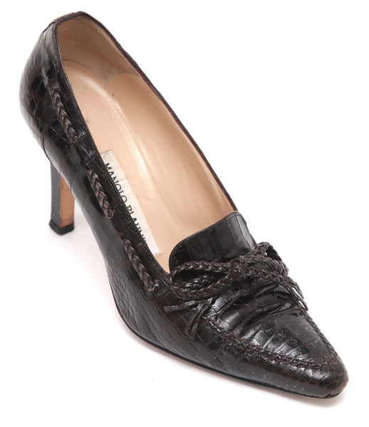 MANOLO BLAHNIK Pump Brown Crocodile Leather Pointed Toe Loafer Heel Sz 37 - Evesherfashion