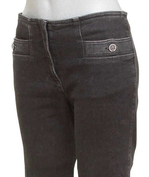 CHANEL Jean Denim BLACK Straight Leg Mid-Rise Crystal Buttons Sz 38 2016 - Evesherfashion