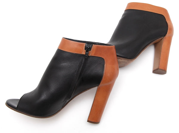 CHLOE Boot Ankle Leather Black Cognac Peep Toe Bootie Zipper Sz 41 - Evesherfashion