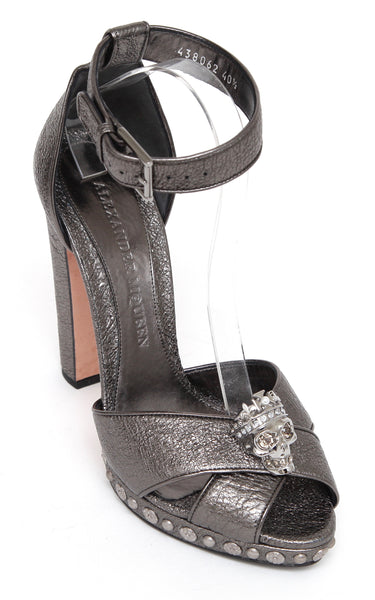 ALEXANDER MCQUEEN Sandal KING SKULL Platform Leather Metallic Gunmetal 40.5 - Evesherfashion