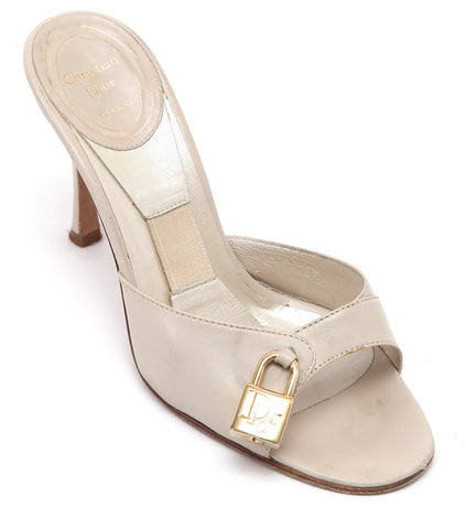 CHRISTIAN DIOR Slide Sandal Leather Beige Peep Toe Heel Gold Lock Key Sz 36.5 - Evesherfashion
