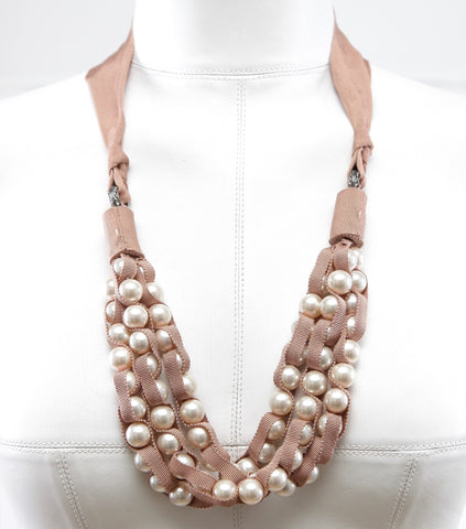 LANVIN Necklace Pearl Faux Ribbon Grosgrain Crystal Silver Nude Brown Tie - Evesherfashion