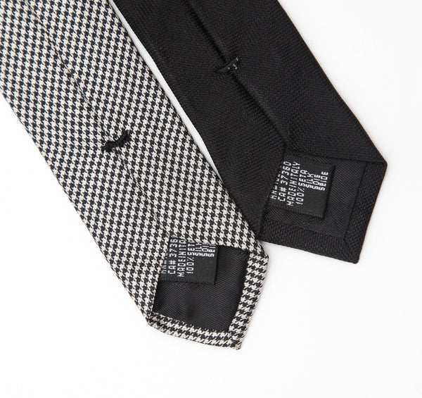 EMPORIO ARMANI Ties Necktie 2 Men's SILK Black White Checkered - Evesherfashion