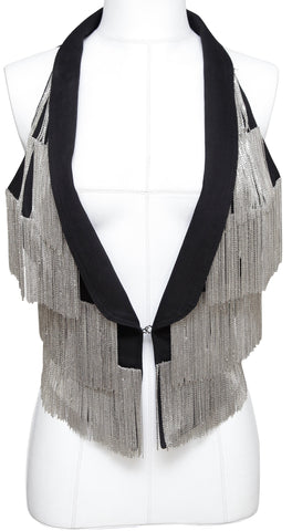 ROBERTO CAVALLI Black Vest Jacket Silver-Tone Chain Sleeveless Sz 42 - Evesherfashion