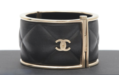 CHANEL Black Cuff Bracelet GOLD METAL LAMBSKIN LEATHER Quilted Pin Side Closure - Evesherfashion