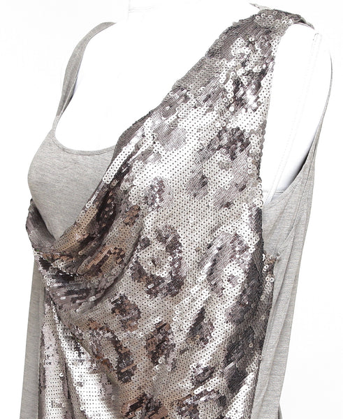 ROBERTO CAVALLI Sleeveless Top Tunic Shirt Grey Sequins Viscose Silk Sz 44 - Evesherfashion