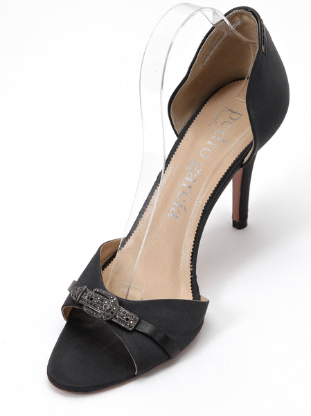 PEDRO GARCIA Pump Satin Leather D'Orsay Peep Toe Crystal Antiqued Silver 40 - Evesherfashion