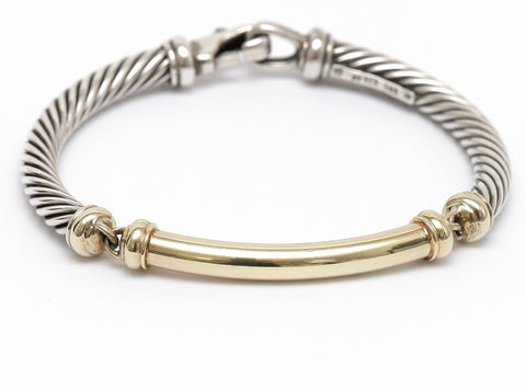DAVID YURMAN Sterling Silver METRO BRACELET Yellow Gold Cable Two Tone Jewelry - Evesherfashion