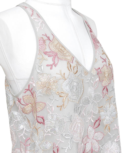 GIORGIO ARMANI Sleeveless Blouse Shirt Top V-Neck Floral Sequin Embroidered 44 - Evesherfashion