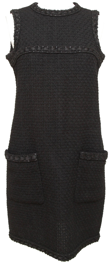 CHANEL Dress Tweed Black Sleeveless Braided Trim Wool Silk Sz 38 2016 - Evesherfashion