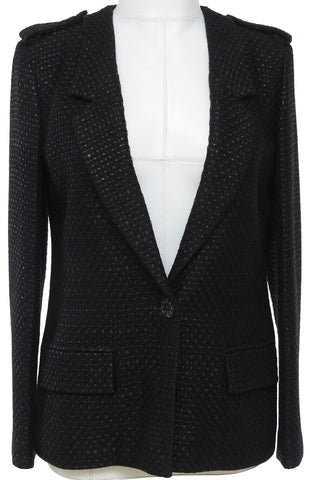CHANEL Black Blazer Jacket Fantasy Tweed Metallic 36 Cruise 2016 - Evesherfashion