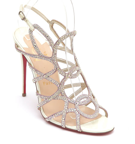 CHRISTIAN LOUBOUTIN Crystal Sandal CIRCONVOLULU 100 Leather Strappy Sz 38 - Evesherfashion