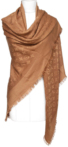 LOUIS VUITTON Brown Monogram Scarf Shawl Silk Wool Fringe Large Wrap - Evesherfashion