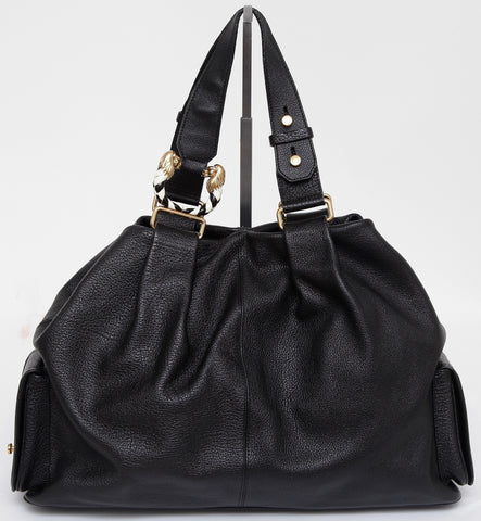 BVLGARI Black Leather Tote Bag LEONI Lion Head Gold-Tone HW Pockets Shoulderbag - Evesherfashion